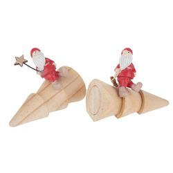 VBS Dekofigur Santa auf Tannenbaum Bröl, 2er-Set