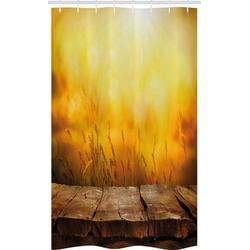 Abakuhaus Duschvorhang Badezimmer Deko Set aus Stoff mit Haken Breite 120 cm, Höhe 180 cm, Blätter Leerer Tisch und Weizen