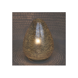 Casa Moro Nachttischlampe Orientalische Tischlampe Assur D22 echt versilberte Messing-Lampe, ESL2150