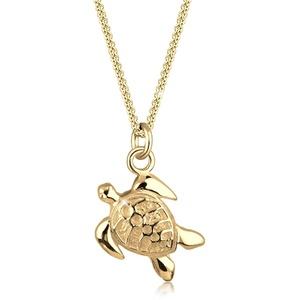 Halskette Panzerkette Schildkröte Anhänger Sun 925 Silber Elli Gold - 001