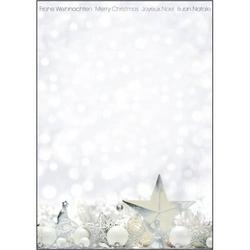 Designpapier Weihnachten White Stars Silberprägung A4 90g/qm Papier VE=25 Blatt