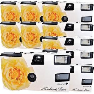 """10x PHOTO PORST Hochzeitskamera / Einwegkamera """"gelbe Hochzeitsrose"""" (deutsche Bedienungsanleitung, mit Blitzlicht und Batterien, je 27 Fotos, ISO 400 Fuji)"""