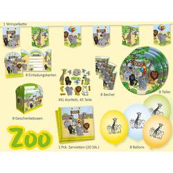 dh konzept Kindergeschirr-Set Partyset Zoo, 62-tlg.