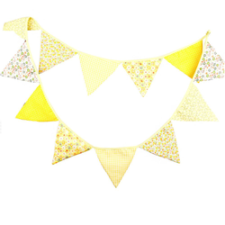 Wimpel Girlande Wimpelkette Banner Vintage - gelb