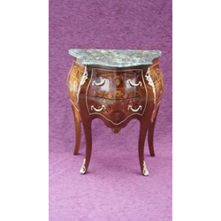 Casa Padrino Barock Kommode mit Marmorplatte Braun Intarsien - Modell Mahagoni - Nachttisch Kommode