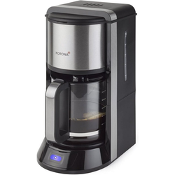 KORONA Filterkaffeemaschine Kaffeemaschine 10290, 1.5l Kaffeekanne, Permanentfilter 1x4, Kaffeeautomat mit Glaskanne, 1,5 Liter Kapazität, für 12 Tassen, 1000 Watt, Anti-Tropf-Funktion, Abschaltautomatik, Farbe: Schwarz / Edelstahl