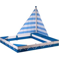dobar Sandkasten Maritim, mit Segel und zwei Spielzeugkisten blau Kinder Sandkiste Sandspielzeug Outdoor-Spielzeug