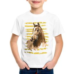 style3 Print-Shirt Kinder T-Shirt Reiterferien pferde reiten bauernhof falbe brauner 128
