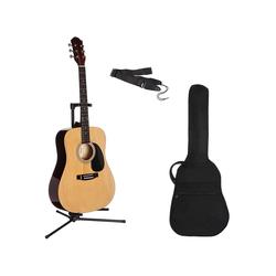 Gitarrenset Westerngitarre 4/4, mit Tasche und Gitarrengurt natur