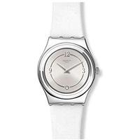 Swatch Damen Analog Schweizer Quarz Uhr mit Echtes Leder Armband YLS213