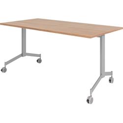 bümö Klapptisch OM-KF16, Konferenztisch fahrbar & klappbar Staffeltisch - Dekor: Nussbaum braun