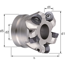 Planfräser/Kopierfräser Z=8 Durchmesser 125 mm. d2= 40 mm. Z=8