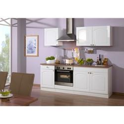 HELD Möbel Küchenzeile Rom 210 cm Hochglanz weiß - ohne E-Geräte