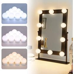 Elegear LED Spiegelleuchte, Hollywood Spiegelleuchte Schminklicht für Schminktisch Spiegel 10 Dimmbar Schminkspiegel Beleuchtung Hollywood Spiegel USB Schminktisch Leuchten für Schminkspiegel mit 3 Farbmodi 10 Helligkeitsmodi