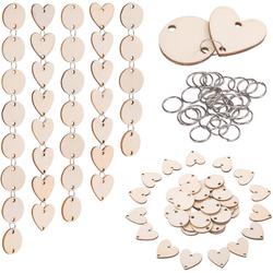 Gotui Anhänger Set, DIY Holzanhänger(50 Stück Holzkreise + 50 Stück Holzherzen + 100 Stück Eisenringverbinder)