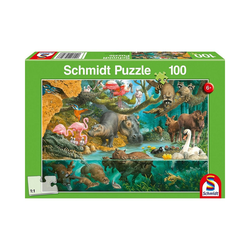 Schmidt Spiele Puzzle Puzzle 100 Teile Tierfamilien am Ufer, Puzzleteile