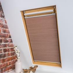 Liedeco Dachfensterplissee Universal Dachfenster-Plissee, Fixmaß beige Plissees ohne Bohren Rollos Jalousien