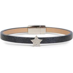 styleBREAKER Armband Schmales Armband mit Stern & Strass, Schmales Armband mit Stern & Strass blau