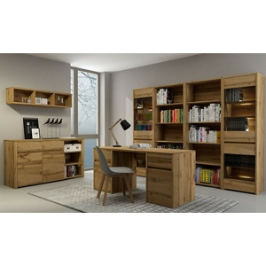 Büroeinrichtung Arbeitszimmer Büromöbel komplett FOREST Set B 7-tg Schreibtisch
