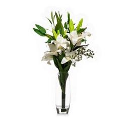 ABELLA Flora künstl. Blumenstrauß Lilien Glasvase Höhe ca. 75cm