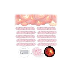 relaxdays Lichterkette 10x Rosen Lichterkette rosa