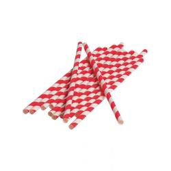 Horror-Shop Einweggeschirr-Set Rot-weiße Party Strohhalme aus Papier 12 Stück, Papier
