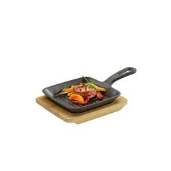 Neuetischkultur Servierpfanne Grill-/ Servierpfanne mit Holzbrett, Gusseisen, Holz (2-tlg), Pfanne