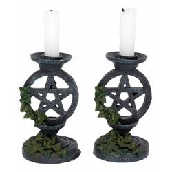 Horror-Shop Kerzenständer Altertümliche Kerzenständer mit Pentagramm Design
