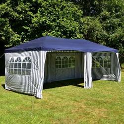 VCM Pavillon Partyzelt blau 3x6m PE 110g/m² Gartenzelt Festzelt Eventzelt Marktzelt