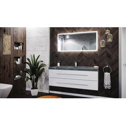 Emotion Waschtisch Badmöbel-Set Damo 130 2-tlg. inkl. Granit G654 1 Hahnloch weiß hochglanz