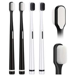kueatily Zahnbürste 4 Stück extra weiche Micro-Nano Zahnbürste Manuelle weiche Zahnbürste für zerbrechliches Zahnfleisch Kinder Erwachsene, schwarz und weiß