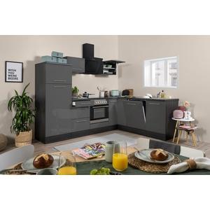 Winkelküche Küchenzeile Küche L-Form Einbau Eiche grau 260x200cm respekta