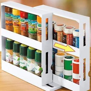 Gewürzregal Küchenschrankorganizer Praktisches Gewuerzregal in Schmal und Ausziehbar Gewürzhalter, Drehbarer Gewürzständer für Küche