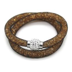MyBeautyworld24 Wickelarmband Armband aus Netzschlauch zweireihig Glitzerkristallen u. Shamballa Kugel Wickelarmband braun