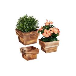 relaxdays Blumentopf Blumentopf Holz 3er Set