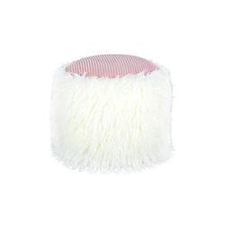 Fellpouf Bobtail 125 Weiß / Rosa