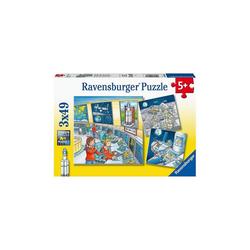 Ravensburger Puzzle Puzzle Auf Weltraummission mit Tom und Mia, 3 x 49, Puzzleteile