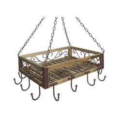 Ambiente Haus Hängeregal Gebranntes Holz Eisen Topfhänger 60 cm Hängeregal