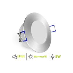 linovum LED Einbaustrahler WEEVO Einbaustrahler LED Bad geringe Einbautiefe 5W warmweiß - Spot IP44 rund gebürstet