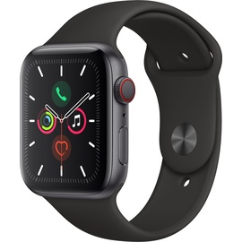 Apple Watch Series 5 (GPS + Cellular) 44mm Aluminiumgehäuse Space Grau, Sportarmband Schwarz
