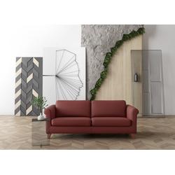 machalke® 3-Sitzer amadeo, Ledersofa mit geschwungenen Armlehnen, Breite 213 cm rot