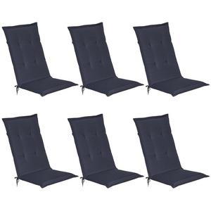 Beautissu Polsterauflage Loft HL, 6er Set Hochlehner Auflage 120x50x8cm blau