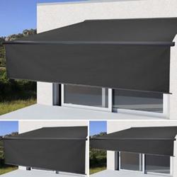 Elektrische Vollkassetten-Markise H124, 5x3m ausfahrbarer Volant ~ Polyester anthrazit, anthrazit