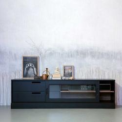 Schwarzes Lowboard mit Glas Schiebetür 180 cm breit