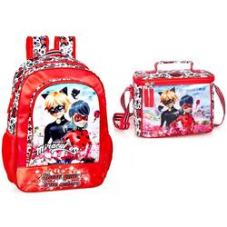 Miraculous - Ladybug Kinderrucksack Ladybug & Cat Noir - Rucksack und Kindergartentasche, rot (Reißverschluss, Mädchen), Tragegurte