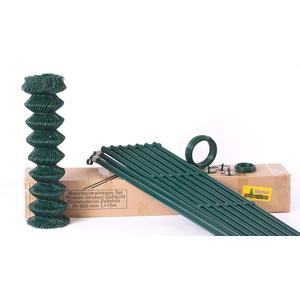 Zaun-Nagel Maschendraht-Zaun Komplett-Set Draht-Zaun Garten-Zaun Gitter-Zaun zaunpaket Montage-fertig Standard-qualität 15 m / 125 cm hoch grün