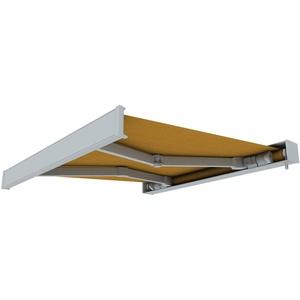 paramondo Markise Kassettenmarkise Line Gelenkarmmarkise Balkon Terrasse Sichtschutz, mit jarolift Funkmotor, 4 x 3 m, Gestell: Weiß, Stoff: Uni, Gelb