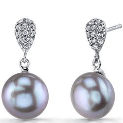 Elegante Silberohrringe mit grauen Perlen Malis