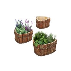 relaxdays Blumenkasten Blumenkasten aus Holz im 3er Set