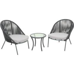 Garten Sitzgruppe 3tlg. + Auflage Essgruppe Gartenset Glas Tisch Sessel Set